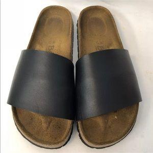 Birkenstock Sandals Slides Size 7/38 Black Leather